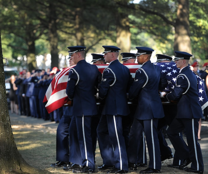 Air Force Honor Guard pallbearers carry the remains of Capt. Matthew Roland to his final resting place at Arlington National Cemetery, Va., Sept. 18, 2015. Roland was fatally wounded in an attack near a vehicle checkpoint at Camp Antonik, a forward operating base in Helmand Province, Afghanistan. Roland was a special tactics officer at the 23rd Special Tactics Squadron, Hurlburt Field, Fla. (U.S. Air Force photo/Staff Sgt. Nichelle Anderson)