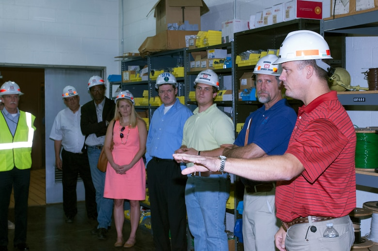 Jake Kennedy (Right), Old Hickory Dam Power Plant superintendent, addresses current technical issues with members of Team Cumberland that were touring the Old Hickory Dam Power Plant in Hendersonville, Tenn., Sept. 15, 2015. (USACE photo by Leon Roberts)
