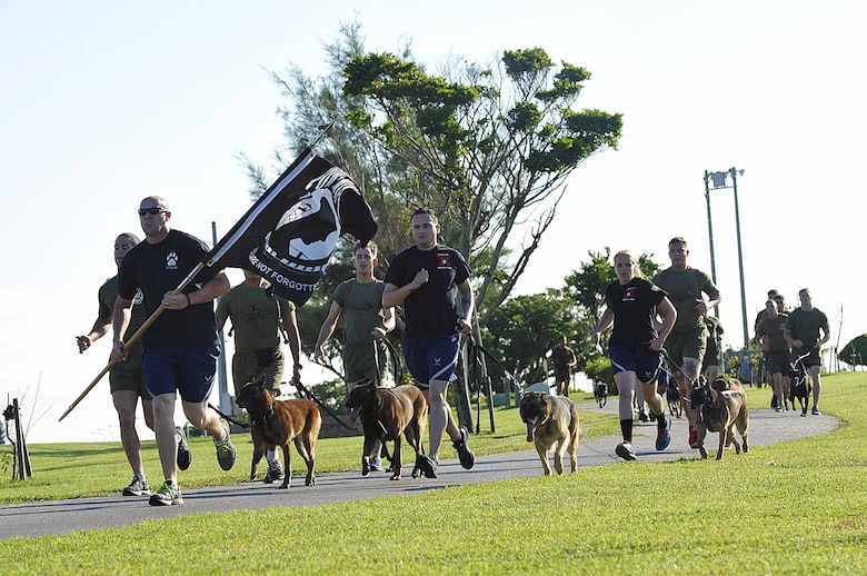 The18th Security Forces Squadron military working dog team escorts the Prisoner of War/Missing in Action flag on the first lap of the run at Marek Park Sept. 17, 2015, on Kadena Air Base, Japan. The flag will be continuously carried around the track by volunteers for the next 24 hours. Also during the run, the names of personnel who were POWs or MIAs, will be read by narrators. (U.S. Air Force photo by Naoto Anazawa/Released)