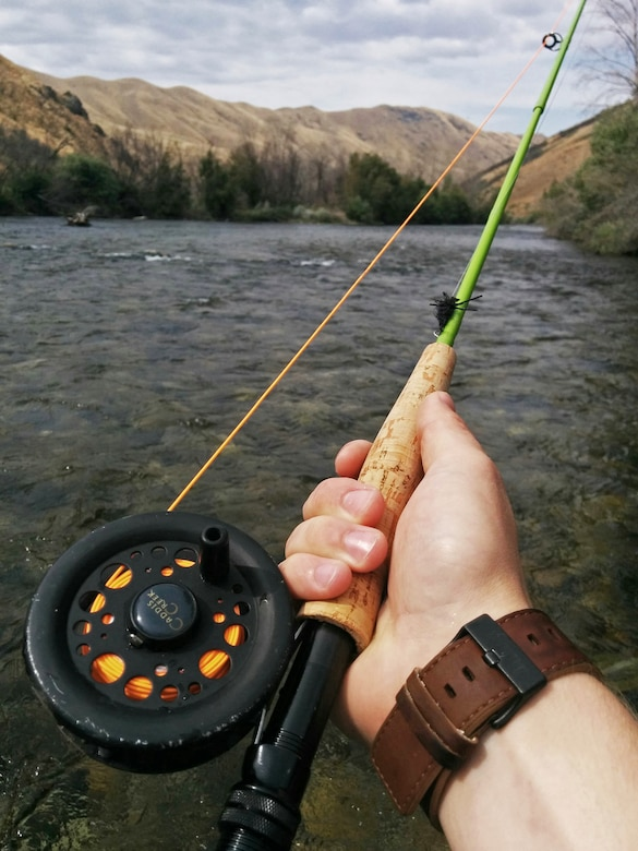 Fly fishing is one of the most popular ways to connect with the South Fork Boise River, Idaho. Anglers can find a number of trout, bass and a few salmon in the many pockets of water scattered throughout the South Fork. (U.S. Air Force photo by Airman 1st Class Connor J. Marth)