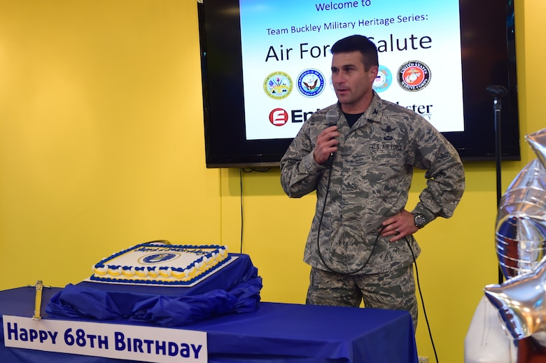 Col. John Wagner, 460th Space Wing commander, speaks on the history and trajectory of the Air Force during an Air Force birthday celebration Sept. 18, 2015, on Buckley Air Force Base, Colo. Team Buckley celebrated the 68th birthday of the Air Force and reflected on how the Air Force began and where it is going. (U.S. Air Force photo by Airman 1st Class Luke W. Nowakowski/Released)