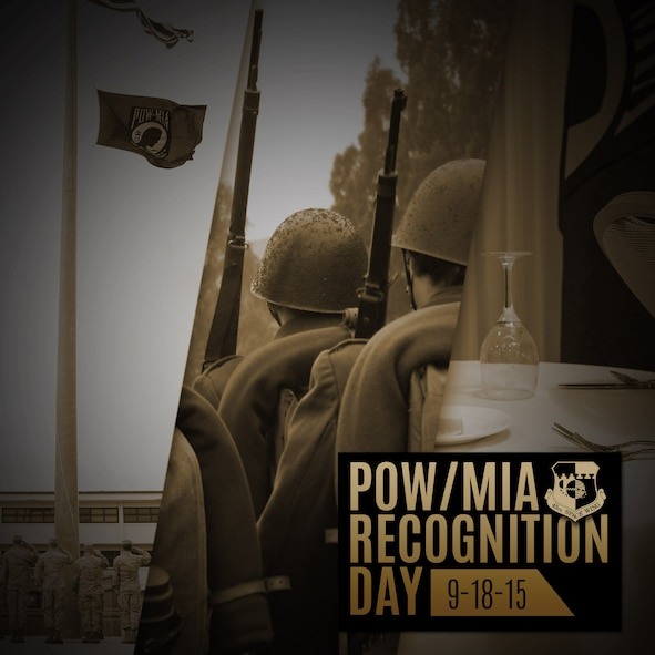 The President has declared the third Friday in September as National POW/MIA Recognition Day to honor and recognize the sacrifices of America's POWs and MIAs, both those returned and those still missing.  There are currently 83,115 Americans who remain missing from past conflicts; I want to remind you that we stand by our commitment to bring all missing Americans home. (U.S. Air Force graphic/James Rainier)