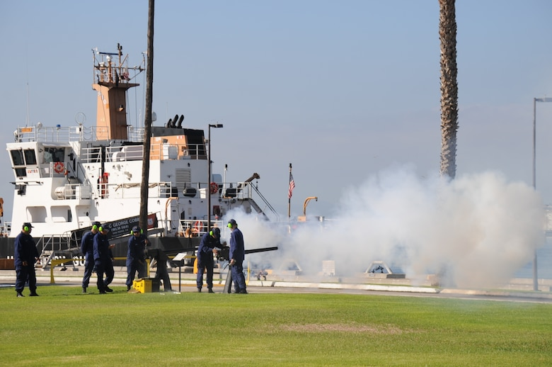 Coast Guardsmen fire off a cannon round near the U.S. Coast Guard Cutter George Cobb (WLM-564) Sept. 17 at the start of the POW/MIA torch relay run. Runners started a 24-hour, 154 mile long route from U.S. Coast Guard Base Los Angeles-Long Beach on Terminal Island in the Port of San Pedro to the Space and Missile Systems Center's Schriever Space Complex at Los Angeles Air Force Base in El Segundo, Calif. (U.S. Air Force photo/Van Ha)