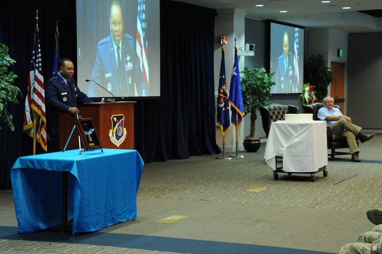 Lt. Gen. Samuel Greaves, SMC commander and Air Force Program Executive Officer for Space, addresses the audience inside the Schriever Space Complex's Gordon Conference Center during a celebration of the Air Force's 68th Birthday Sept. 18 at the Space and Missile Systems Center, Los Angeles Air Force Base in El Segundo, Calif. (U.S. Air Force photo/Van De Ha)
