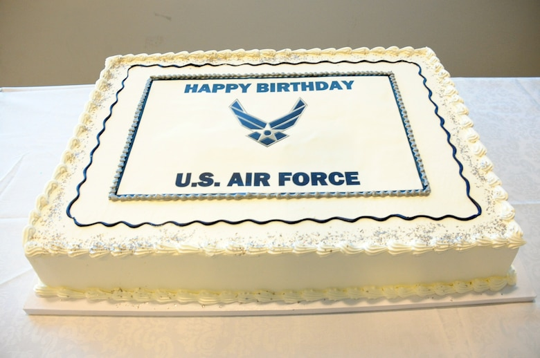 A ceremonial cake prepares to be cut to celebrate the Air Force's 68th Birthday Sept. 18 in the Schriever Space Complex's Gordon Conference Center at the Space and Missile Systems Center, Los Angeles Air Force Base in El Segundo, Calif. (U.S. Air Force photo/Van De Ha)