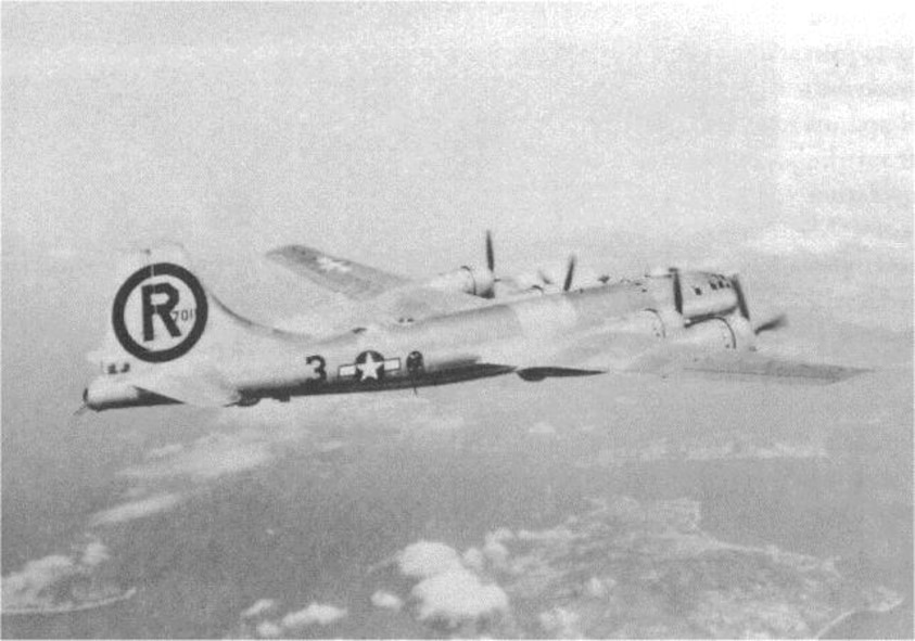 "Pictured here is 24th Bomb Squadron Boeing B-29-80-BW Superfortress , serial number 44-70116, the ""Sharon Linn,"" in flight.  She was shot down by anti-aircraft fire while on a mine laying mission to Niigata, Japan, on the night of 19 July 1945.  (Courtesy 6th Bomb Group Association)"