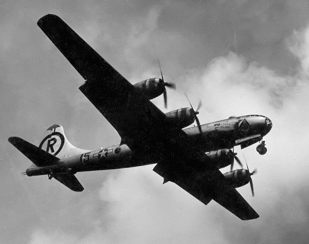 """The only known photograph of 24th Bomb Squadron B-29-45-BW, serial number 42-24759, """"Blind Date/Lady's Delight"""" in flight.  This aircraft was named Blind Date on the left side and had a second name added later, Lady's Delight, on the right side.  It may have been the only plane in the group to carry two names at the same time.  (Courtesy 6th Bomb Group Association)"""
