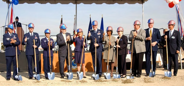 From left to right: Lt Col. Aaron Bridgewater, 61st Air Base Group Redevelopment Office; Col. Robert Worley, Air Force Space Command Director of Mission Support; Lt. Col Lee MacArthur, Air Base Group deputy commander; the Honorable Nelson Gibbs, assistant secretary of the Air Force for Installations, Environment and Logistics; the Honorable Jane Harman, Congresswoman from California's 36th District; Lt. Gen. Brian Arnold, Space and Missile Systems Center commander from 25 May 2001 to 20 May 2005; Congresswoman Maxine Waters, California's 35th District; Sandra Jacobs, El Segundo Mayor pro tem; the Honorable Larry Guidi, Mayor of Hawthorne; Charlie McPhee and Jeff Dritley from the Kearny Real Estate Corp team give the thumbs-up sign at the Systems Acquisition Management Support groundbreaking event held at Los Angeles AFB on Nov. 21, 2003. The SAMS Complex took 865,000 square feet of facilities and buildings occupied in the former Area A & Annex C (Hawthorne) and replaced them with a consolidated area for Los Angeles AFB. (U.S. Air Force photo)