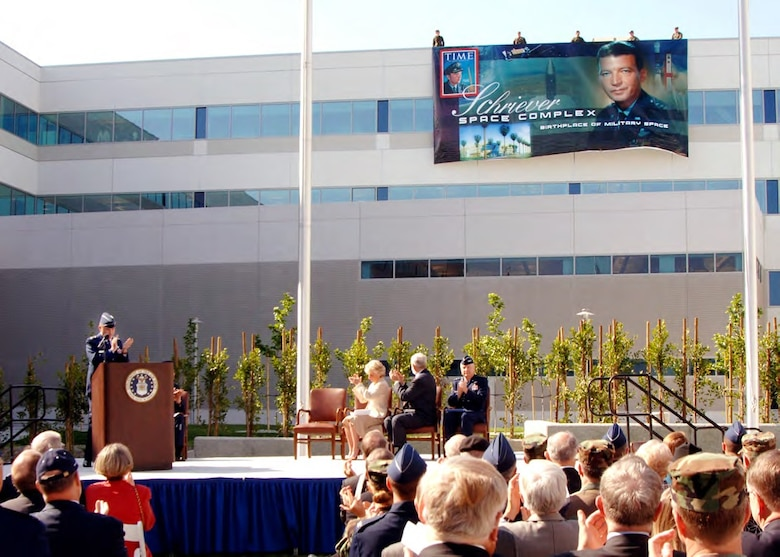 Maj. Gen. Michael Hamel, commander of Space and Missile Systems Center, presides over the dedication ceremony for the Schriever Space Complex transferring SMC's headquarters from Area A to its new location on the northwest corner, former Area B of Los Angeles Air Force Base on Apr. 24, 2006. (U.S. Air Force photo)