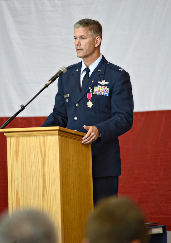 Col. Brian Humphrey thanks numerous friends, family members, co-workers and mentors during his Sept. 11 retirement ceremony. Col. Bradley Bird will succeed Colonel Humphrey as the 552nd Air Control Wing's vice commander. (Air Force photo by Kelly White/Released)