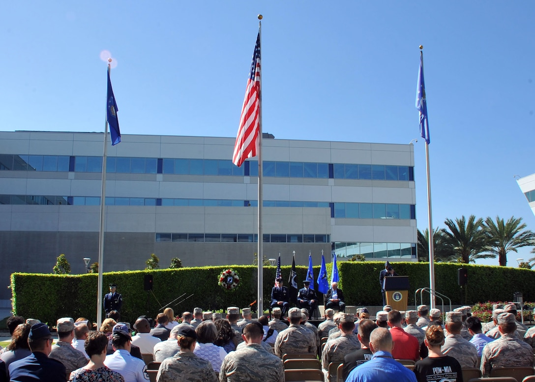 The National POW/MIA Recognition Day ceremony draws to a close Sept. 18 at the Space and Missile Systems Center's Schriever Space Complex at Los Angeles Air Force Base in El Segundo, Calif. (U.S. Air Force photo/Sarah Corrice)