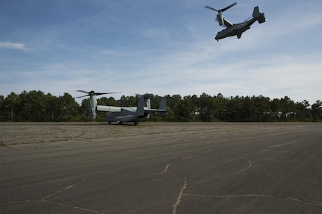 U.S. Marine Corps MV-22B Ospreys assigned to Marine Medium Tiltrotor Squadron (VMM) 365, take off during a casualty evacuation (CASEVAC) drill near Marine Corps Air Station New River, N.C., Sep. 2, 2015. VMM-365 supported Marine Corps Security Force Regiment, Fleet Antiterrorism Security Team Company, Fifth Platoon, by providing a means of quickly evacuating simulated casualties during a CASEVAC drill.