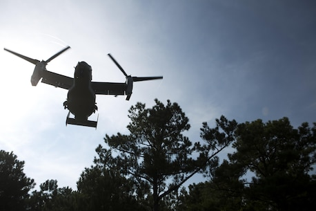 A U.S. Marine Corps MV-22B Osprey assigned to Marine Medium Tiltrotor Squadron (VMM) 365, prepares to land during a casualty evacuation (CASEVAC) drill near Marine Corps Air Station New River, N.C., Sep. 2, 2015. VMM-365 supported Marine Corps Security Force Regiment, Fleet Antiterrorism Security Team (FAST) Company, Fifth Platoon, by providing a means of quickly evacuating simulated casualties during a CASEVAC drill.