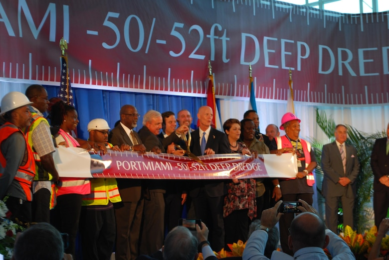 VIPs cut the ribbon to celebrate the Miami Harbor deepening project completion Sept. 18,2015 at PortMiami,Florida.