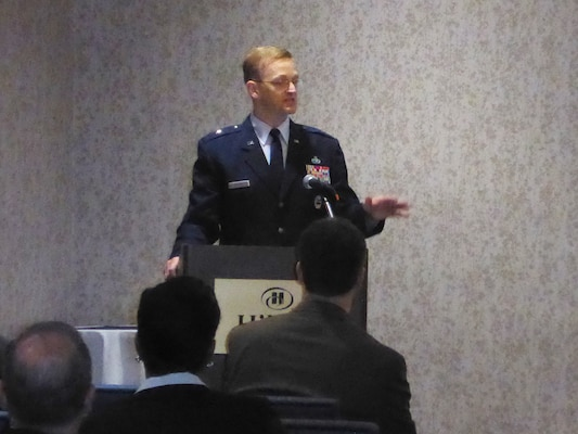 Air Force Brig. Gen. Mark McLeod, Defense Logistics Agency Energy commander, speaks to suppliers during a pre-proposal conference for the Rocky Mountain/West Coast/Offshore 2015 purchase program solicitation at the Hilton Springfield Hotel in Springfield, Virginia, April 29.