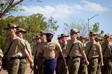 U.S. Marines with 1st Battalion, 4th Marine Regiment, Marine Rotational Force – Darwin and soldiers with the 1st Brigade, Australian Army, graduate from the Australian Subject One Corporal Course, Sept. 18 at Robertson Barracks, Northern Territory, Australia. Participation in the junior leadership course gave the allied Marines and soldiers the opportunity to learn about each other's standard operating procedures, tactics, techniques and procedures to further increase their ability to work together effectively.