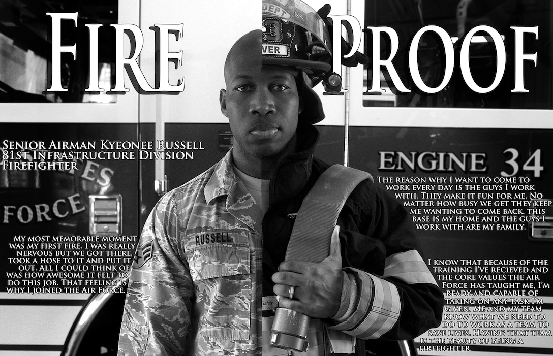 Senior Airman Kyeonee Russell is a firefighter with the 81st Infrastructure Division. After five years at Keesler Air Force Base and one deployment to Manas Air Base, Kyrgyzstan, Russell finds the love for his job from the training he has received, the core values that have been instilled in him and his coworkers. According to Russell, his coworkers make it fun to come to work every day and they are his family away from home. (U.S. Air Force graphic by Senior Airman Holly Mansfield)