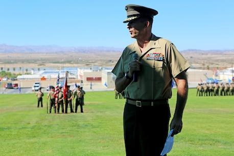 "Major General Daniel J. O'Donohue, commanding general of 1st Marine Division, addresses the crowd during the 3rd Battalion, 4th Marines, 7th Marine Regiment, 1st Marine Division reactivation ceremony aboard Marine Air Ground Combat Center Twentynine Palms, Calif., Sept. 17, 2015. The Marine Corps' reactivation of the ""Thundering Third"" officially starts Oct. 1, 2015, which marks exactly 90 years of dedicated service within the Corps."