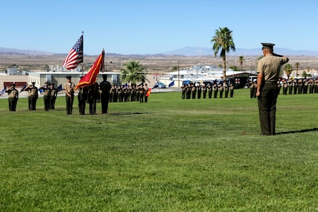 "Lieutenant Colonel Brian S. Middleton, commanding officer of 3rd Battalion, 4th Marines, 7th Marine Regiment, 1st Marine Division, salutes the colors during the unit's reactivation ceremony aboard Marine Air Ground Combat Center Twentynine Palms, Calif., Sept. 17, 2015. The Marine Corps' reactivation of the ""Thundering Third"" officially starts Oct. 1, 2015, which marks exactly 90 years of dedicated service within the Corps."