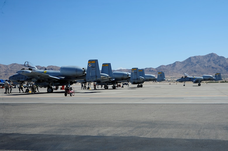 An A-10 Thunderbolt II taxis to its parking spot after landing at Nellis Air Force Base, Nev., Sept. 10, 2015. Eight A-10s from the 357th Fighter Squadron at Davis-Monthan AFB, Ariz., arrived at Nellis to participate in Green Flag-West 15-10 with seven other units. (U.S. Air Force photo by Senior Airman Betty R. Chevalier/Released)
