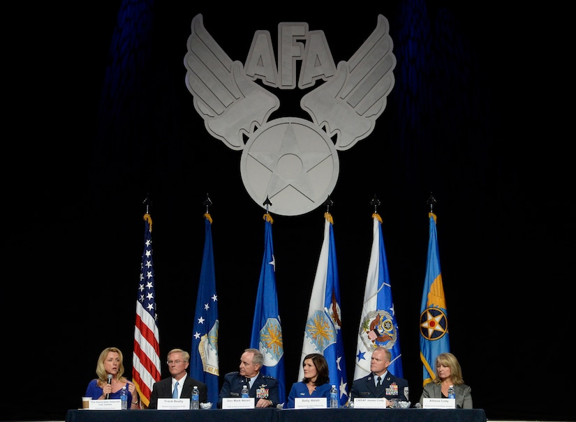 Some of the Air Force's senior leaders and their spouses answer questions about family issues during an Airman and Family Programs senior leader town hall, during the Air Force Association's Air and Space Conference and Technology Exposition in Washington, D.C., Sept. 14, 2015. (U.S. Air Force photo/Scott M. Ash)