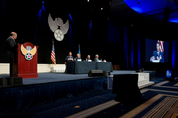 Lt. Gen. Stanley E. Clarke III, the director of the Air National Guard responds to a question during the Total Force panel at the Air Force Association's Air and Space Conference and Technology Exposition in National Harbor, Md., Sept. 16, 2015. The other members of the panel were Lt. Gen James Jackson, commander of the Air Force Reserve Command and chief of Air Force Reserves, Lt. Gen James Holmes, deputy chief of staff for Strategic Plans and Requirements and Daniel Sitterly, principal deputy Assistant Secretary of the Air Force for Manpower and Reserve Affairs. (U.S. Air National Guard photo/Master Sgt. Marvin R. Preston/Released)