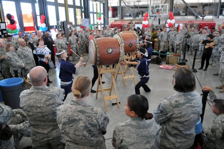 Taiko drummers play for Nevada Guard Airmen and Soldiers at the third annual Diversity Day on Thursday, Sept. 17, 2015, at the Nevada Air National Guard Base in Reno. More than 450 attended the event, the most in the event's three-year history. Photo by Tech. Sgt. Emerson Marcus