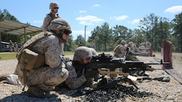 Marines from Battery M, 3rd Battalion, 14th Marine Regiment, 4th Marine Division, fire the M240 machine gun at targets down range at Pelham Range in Anniston, Ala., on Sept. 19, 2015. The Marines attended training to hone skills and increase their proficiency in crew-served weapons systems.