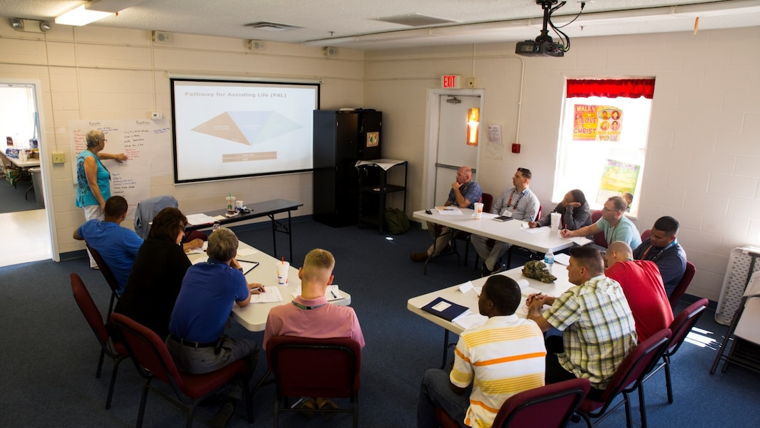 Marines, sailors and civilian workers with 2nd Marine Logistics Group attended a week-long Applied Suicide Intervention Skills Training course, aboard Marine Corps Base Camp Lejeune, N.C., Sept. 14-18, 2015.  ASIST is a five-day workshop where candidates learn how to appropriately interact with someone who is having suicidal thoughts and also become instructors on how to teach the class to other service members in their units.  (U.S. Marine Corps Photo by Cpl. Michael Dye/released)