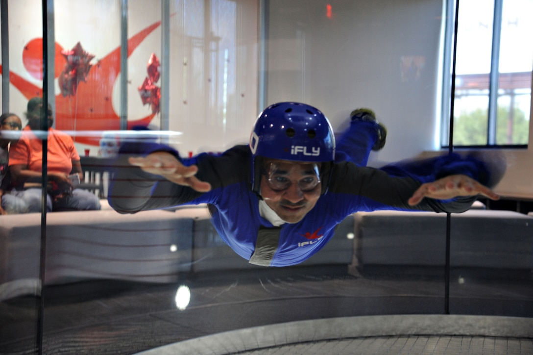 U.S. Air Force 2nd Lt. Daniel Sierra, 315th Training Squadron student, focuses on his simulated skydiving training at Austin, Texas, Sept. 19. The 17th Support Squadron at Goodfellow Air Force Base helps members on base have opportunities to experience fun events. (U.S. Air Force photo by Airman Caelynn Ferguson/Released)
