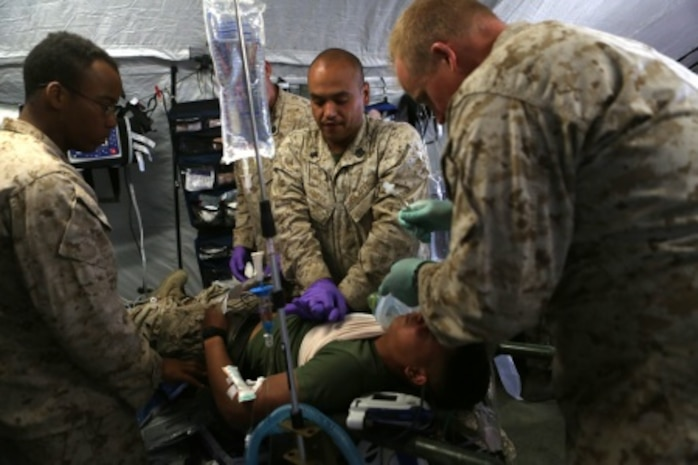 Sailors with Bravo Surgical Company, 1st Medical Battalion, 1st Marine Logistics Group, perform life-saving drills, displaying their medical expeditionary capabilities in support of Marines from 1st Battalion, 5th Marine Regiment, 1st Marine Division, during a mass casualty exercise aboard Camp Pendleton, Calif., Sept 8, 2015 as part of Dawn Blitz 2015.