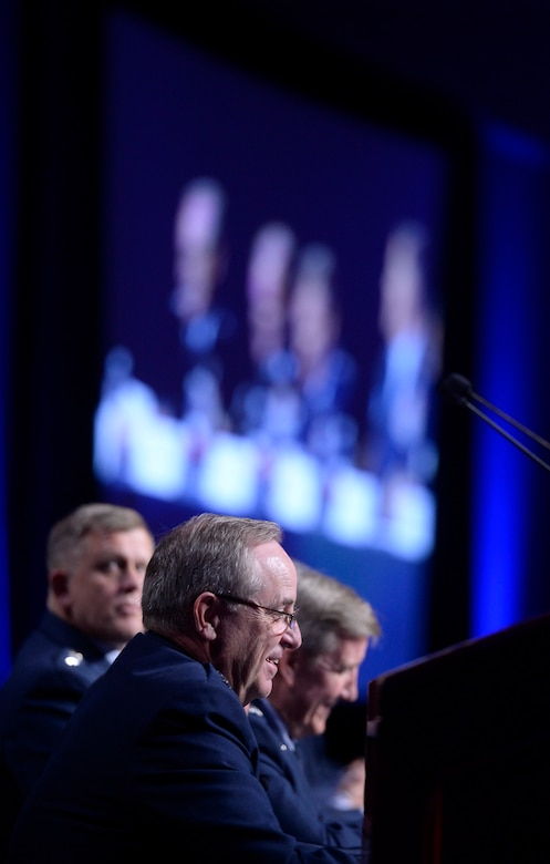 Air Force Chief of Staff Gen. Mark A. Welsh III introduces major command panelists during a Q-and-A session at the Air Force Association's Air and Space Conference and Technology Exposition Sept. 16, 2015, in Washington, D.C. (U.S. Air Force photo/Scott M. Ash)