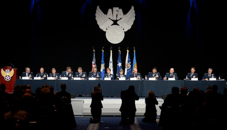Air Force Chief of Staff Gen. Mark A. Welsh III and Chief Master Sgt. of the Air Force James A. Cody introduce major command panelists during a Q-and-A session at the Air Force Association's Air and Space Conference and Technology Exposition Sept. 16, 2015, in Washington, D.C. (U.S. Air Force photo/Scott M. Ash)