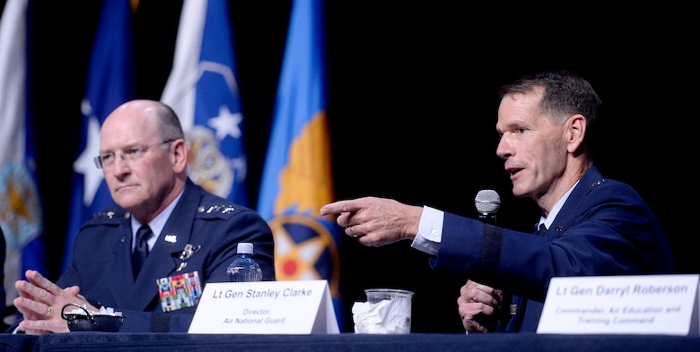 Lt. Gen. Stanley E. Clarke III, the Air National Guard director, answers questions with fellow major command panelists during a Q-and-A session at Air Force Association's Air and Space Conference and Technology Exposition Sept. 16, 2015, in Washington, D.C. (U.S. Air Force photo/Scott M. Ash)