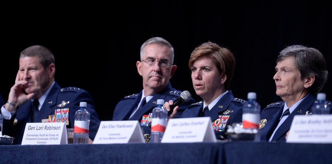 Gen. Lori Robinson, the commander of Pacific Air Force Command, answers questions with fellow major command panelists during a Q-and-A session at the Air Force Association's Air and Space Conference and Technology Exposition Sept. 16, 2015, in Washington, D.C. (U.S. Air Force photo/Scott M. Ash)