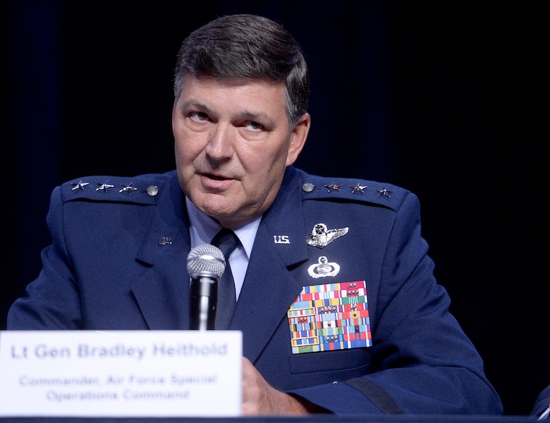 Lt. Gen. Bradley Heithold, the commander of Air Force Special Operations Command, answers questions with fellow major command panelists during a Q-and-A session at the Air Force Association's Air and Space Conference and Technology Exposition Sept. 16, 2015, in Washington, D.C. (U.S. Air Force photo/Scott M. Ash)