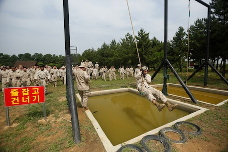 U.S. Marines Corps Capt. Stuart Scheller, the Weapons Company Commander, 2d Battalion, 3d Marines, demonstrates how to properly execute an obstacle on a Republic of Korea Marine Corps obstacle course during Korean Marine Exchange Program 15-19 (KMEP) on Camp Mujuk, Republic of Korea, June 22, 2015. KMEP 15-19 provided an opportunity to train the units' complex Company and Battalion level collective tasks on dynamic, combined-arms ranges. (U.S. Marine Corps photo by MCIPAC Combat Camera Lance Cpl. Colby Cooper/Released)