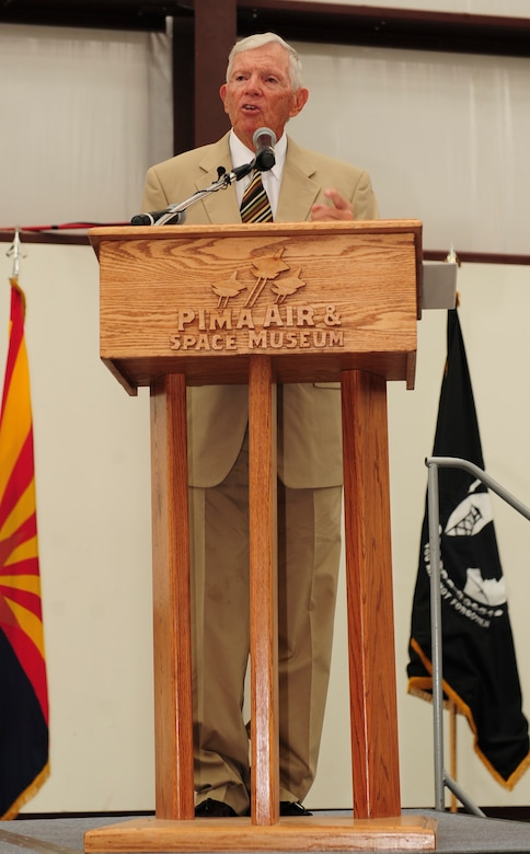 "Retired U.S. Air Force Col. Thomas Kirk speaks during a POW/MIA Remembrance Ceremony at the Pima Air and Space Museum, Tucson, Ariz., Sept. 18, 2015. Kirk spent five and a half years as a prisoner of war during the Vietnam War. Kirk spoke about his experiences as a POW, ""The experience taught me some valuable lessons, to have faith in America, have faith in your fellow man, faith in religion and faith in yourself."" (U.S. Air Force photo by Senior Airman Cheyenne A. Powers/ Released)"