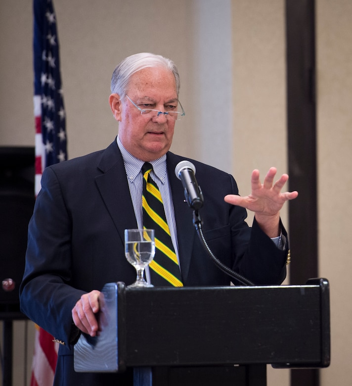 Mr. William Milcarek, former U.S. Air Force B-52 Spirit pilot and POW, speaks to members of Joint Base Charleston during the POW/MIA luncheon Sept. 18, 2015, at the Charleston Club on JB Charleston – Air Base, S.C. National POW/MIA Recognition Day is an annual event that honors servicemembers who were prisoners of war or missing in action. (U.S. Air Force photo/Airman 1st Class Clayton Cupit)