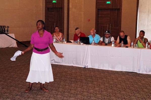 Almeda Giles, 39th Air Base Wing community support coordinator, hosts a coping seminar during the RUfit Resiliency Retreat July 11, 2015, in Mersin, Turkey. Twenty-Eight Airmen, E-5 and below, from the 39th ABW attended the retreat.  (Courtesy photo)