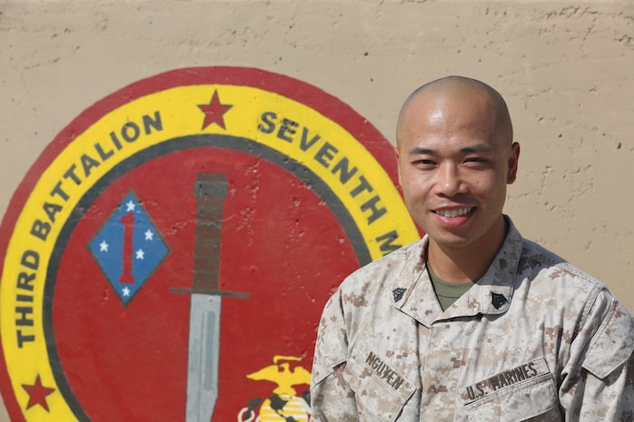 U.S. Marine Sgt. Duc Nguyen, a rifleman, with 3rd Battalion, 7th Marine Division, Ground Combat Element, Special Purpose Marine Corps Air-Ground Task Force – Crisis Response – Central Command, poses for a photo while deployed to Southwest Asia, September 21, 2015. Nguyen joined the Marine Corps at 26, after attending a few years of college and while working a steady career. His unit is the Ground Combat Element of a task force providing the commander of USCENTCOM with a range of nimble solutions to emergent crises across the Middle East. (U.S. Marine Corps photo by Cpl. Jonathan Boynes / released)