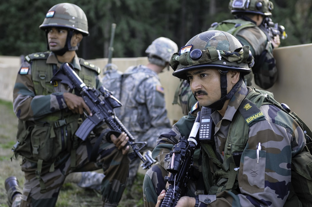 Indian soldiers provide security while conducting company movement procedures during the exercise Yudh Abhyas 2015 on Joint Base Lewis-McChord, Wash., Sept. 21, 2015. U.S. Army photo by Sgt. Daniel Schroeder
