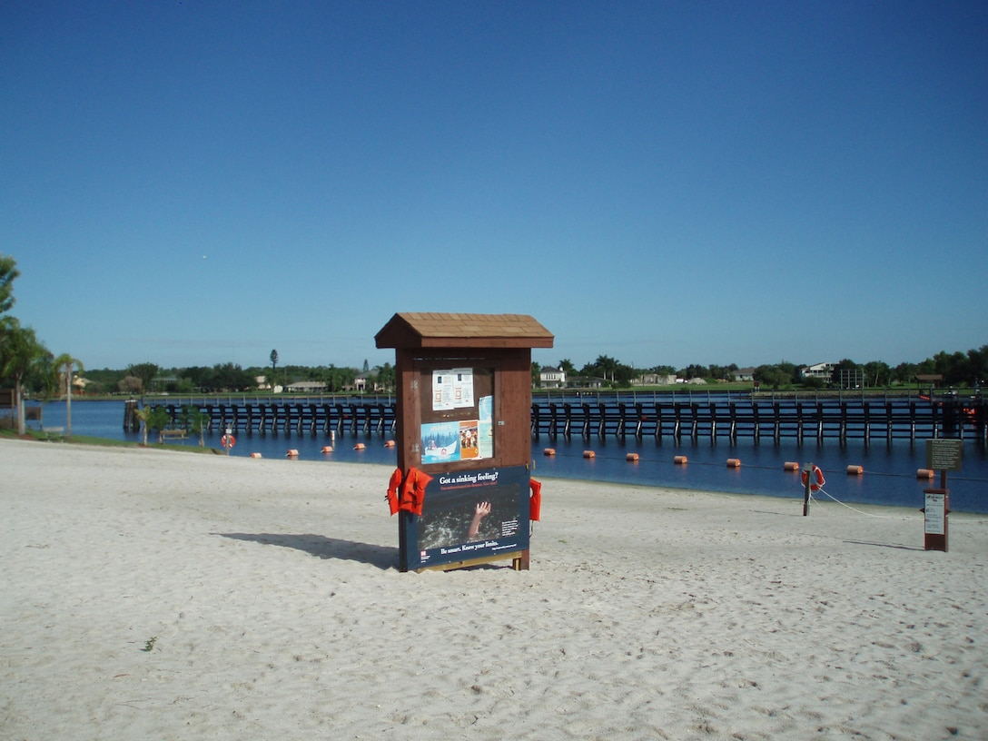 Life jacket loaner station at W.P. Franklin swimming beach