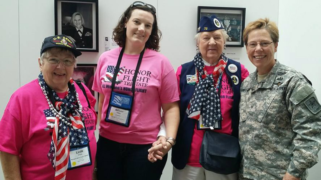 Army Brig. Gen. Tammy Smith, deputy Chief of Staff, Army Reserve, poses with female veterans from the first all-female honor flight, at the Women in Military Service for America Memorial, at Arlington National Cemetery, Arlington, Va., Sept. 22, 2015. DoD photo by Lisa Ferdinando