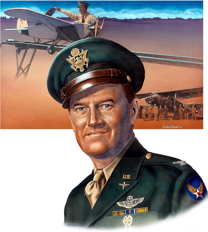 An artistic portrait of Col. George V. Holloman. Today's remotely piloted aircraft and the Airmen that support them are in existence because of research and development done by Holloman in the late 1930s. (Courtesy photo)