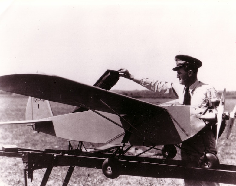Then-Capt. George V. Holloman inspects a remotely piloted aircraft in 1937. Today's remotely piloted aircraft and the Airmen that support them are in existence because of research and development done by Holloman in the late 1930s. (Courtesy photo)