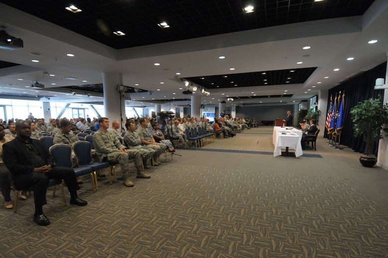 """Space and Missile Systems Center personnel listen to a panel discussion on """"Leadership in a Diverse Air Force,"""" held in the Gordon Conference Center at the Schriever Space Complex Sept. 23 during the 2015 SMC Diversity Day event at Los Angeles Air Force Base in El Segundo, Calif. (U.S. Air Force photo/Sarah Corrice)"""