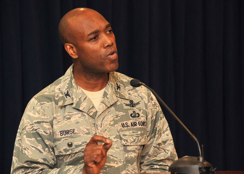 Col. Al Burse, senior materiel leader of the Evolved Expendable Launch Vehicle Generation and Operations Division of the Launch Systems Directorate, speaks about diversity during the 2015 Space and Missile Systems Center's Diversity Day panel discussion, Sept 23 in the Gordon Conference Center at the Schriever Space Complex. This year's event at Los Angeles Air Force Base in El Segundo, Calif. featured a panel discussion, performances showcasing the talents of base employees, ethnic foods and informational displays. (U.S. Air Force photo/Sarah Corrice)