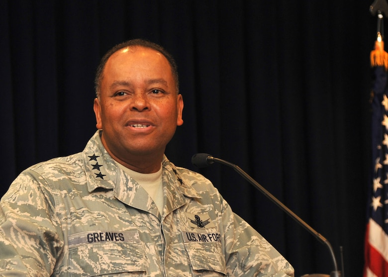 Lt. Gen. Samuel Greaves, Space and Missile Systems Center commander and Air Force Program Executive Officer for Space, addresses the audience prior to the start of the 2015 SMC Diversity Day panel discussion, Sept. 23 in the Gordon Conference Center at the Schriever Space Complex. This year's event at Los Angeles Air Force Base in El Segundo, Calif. featured a panel discussion, performances showcasing the talent of base employees, ethnic foods and informational displays. (U.S. Air Force photo/Sarah Corrice)