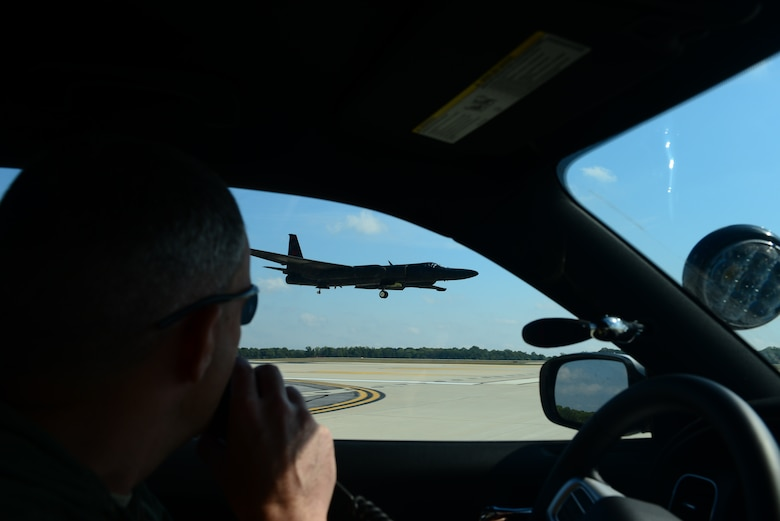 Lt. Col. Christopher, U-2 pilot with the 1st Reconnaissance Squadron, Beale Air Force Base, California, drives a mobile chase car to aid a U-2 Dragon Lady land during an air show at Joint Base Andrews, Maryland, Sep. 19, 2015. The U-2 Dragon Lady will be on display during the California Capital Air Show at Mather Airport in Sacramento county Oct. 3-4, 2015. (U.S. Air Force photo by Senior Airman Bobby Cummings)